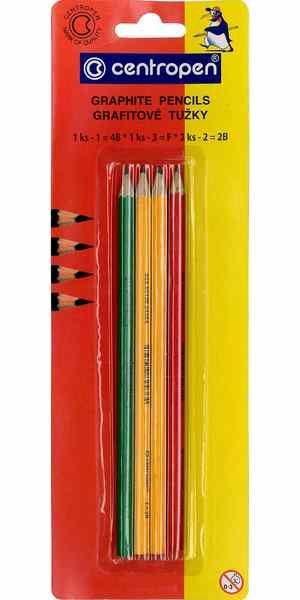 Grafitové tužky - sada 4 ks, TŘI TVRDOSTI