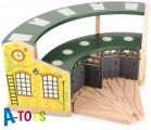 MAXIM Depo pro pět vláčků s dveřmi - zelená střecha