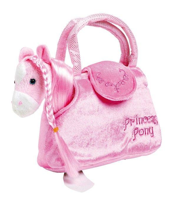 Plyšový koník v kabelce - růžový