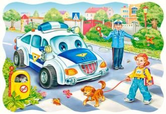 Puzzle 30 dílků - Bezpečnost na silnici Castor
