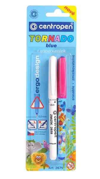 Školní pero + zmizík TORNADO BLUE