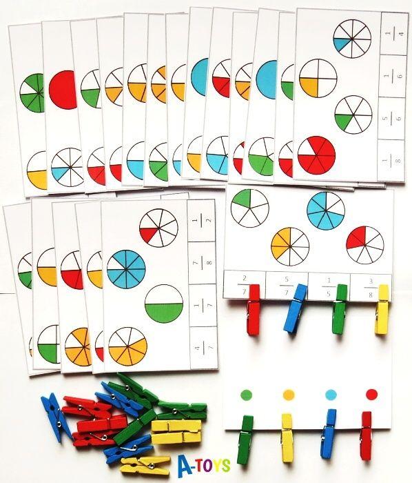Výukové kartičky s kolíčky - Zlomky