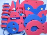značka Dena - barva červená a modrá