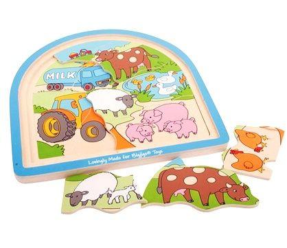 Dřevěné velké vícevrstvé puzzle - FARMA BIGJIGS