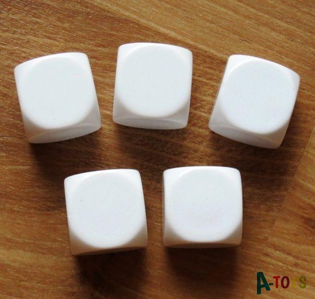 Prázdné bílé kostky 2,2 cm - sada 5 ks