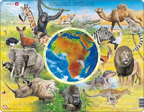 puzzle AFRICKÁ ZVÍŘATA Larsen