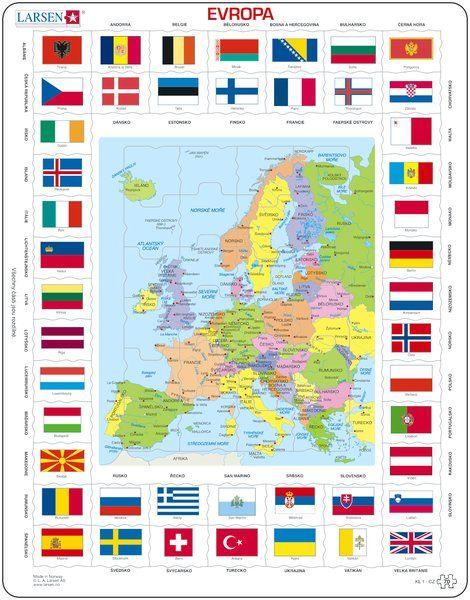 puzzle MAPA EVROPY A VLAJKY - v češtině Larsen