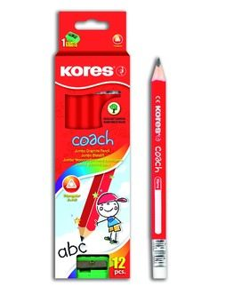 Trojhranná tužka Jumbo s gumou Kores
