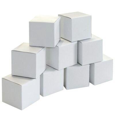 Kostky (krabičky) 6 cm bílé - sada 20 ks