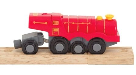 Mašinka na baterie - parní lokomotiva červená BIGJIGS
