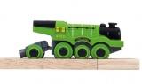 Mašinka na baterie - velká parní lokomotiva zelená