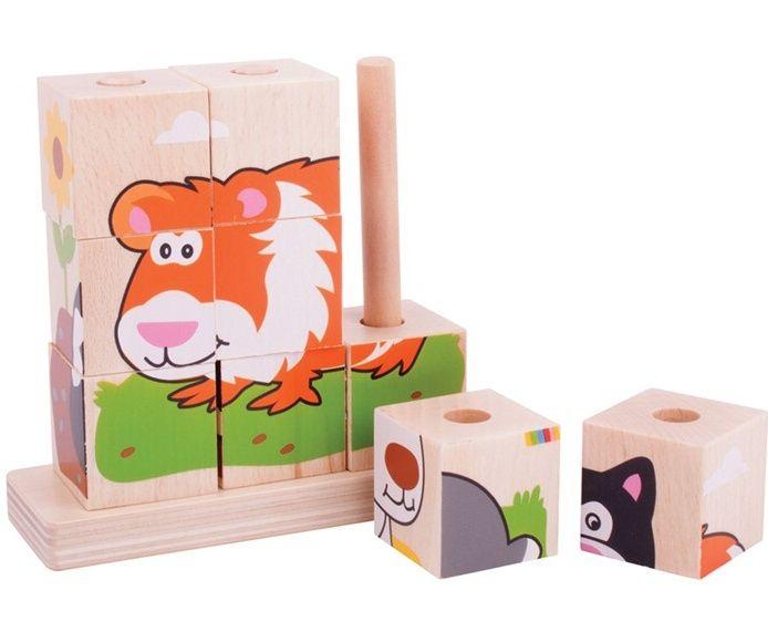 Obrázkové kostky nasazovací dřevěné BIGJIGS