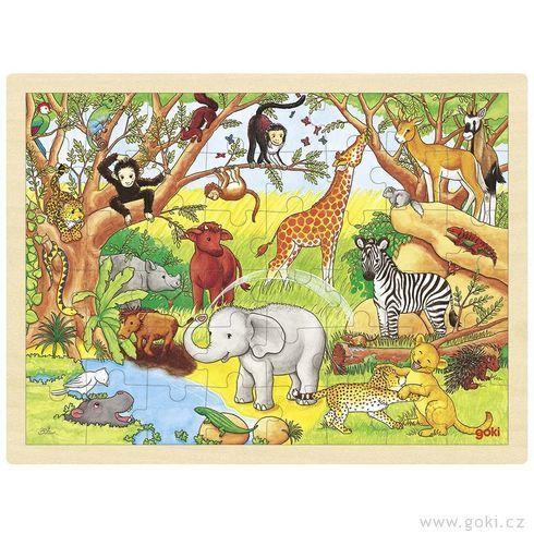 Puzzle na desce – Afrika, 48 dílů (Goki)