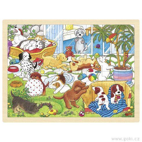 Puzzle na desce – Škola pro štěňata, 48 dílů GOKI