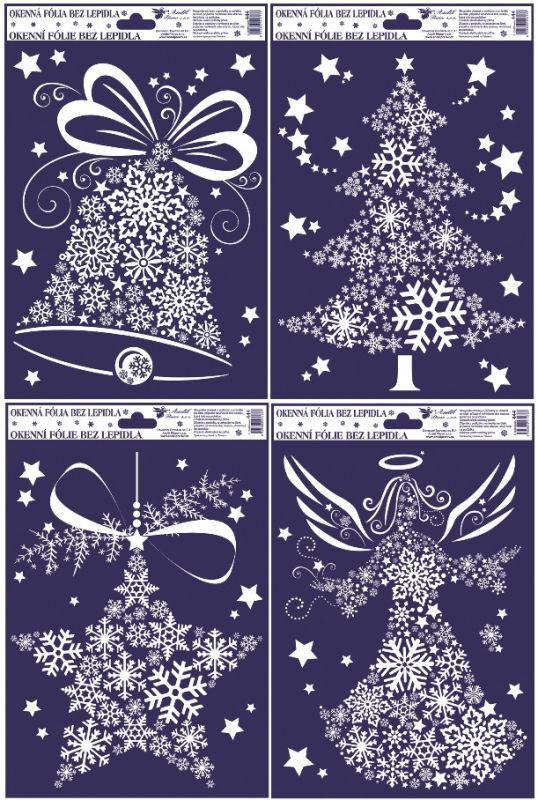 Vánoční dekorace na okno 30x20 cm - BÍLÉ MOTIVY