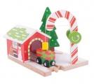 Vánoční stanice s jeřábem
