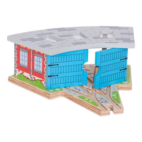 BigJigs Vlakové depo střední (trojité depo s vraty) - dřevěné vláčky