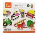 Dřevěná provlékačka - Farma (navlékací hračka)
