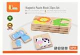 Dřevěné magnetické puzzle zvířátka