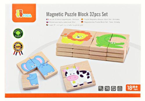 Dřevěné magnetické puzzle zvířátka - 4 dílky
