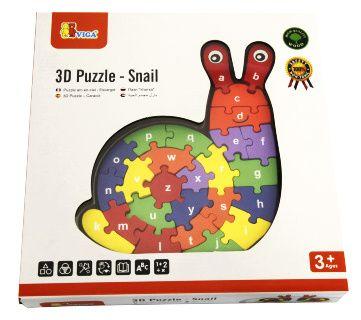 Dřevěné puzzle abeceda - Šnek