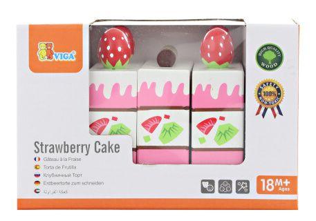 Dřevěný dort jahodový krájecí- doplňky do kuchyňky