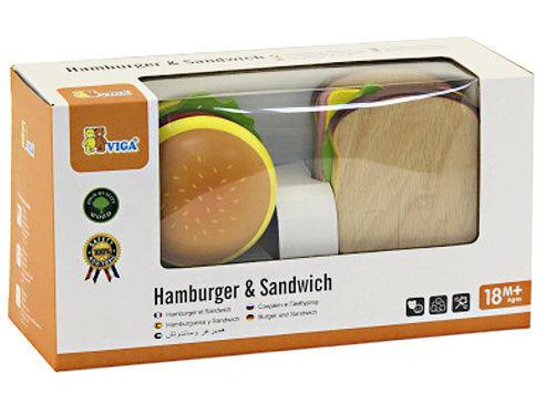 Krájecí HAMBURGER a SENDVIČ - dřevěné doplňky do kuchyňky