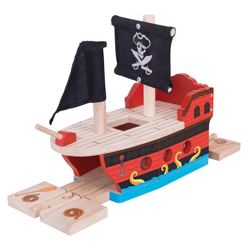 Pirátská galeona - tunel - dřevěná vláčkodráha BIGJIGS