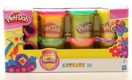 Play-Doh modelína - třpytivé barvy 6 ks + 2 vykrajovátka