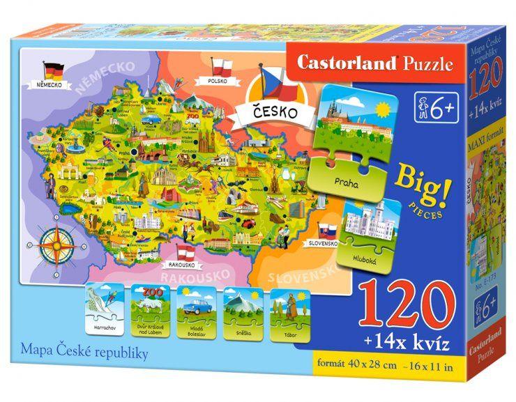 Puzzle MAPA České republiky - 120 dílků Castor