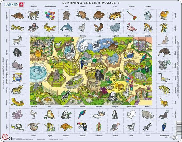 puzzle s angličtinou - ZVÍŘÁTKA V ZOO Larsen