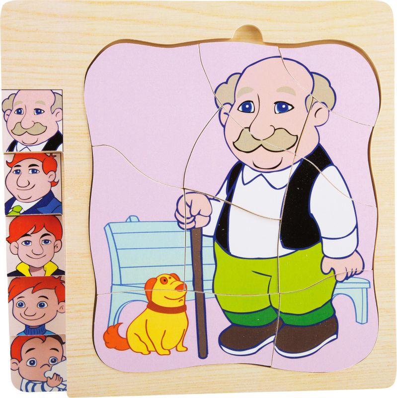 Vícevrstvé puzzle věk - generace dědeček - 5 vrstev